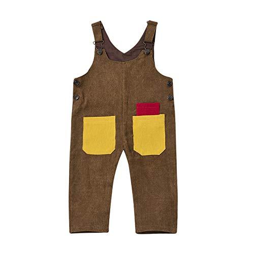 Cutemini Baby Mädchen Jungen Cord Overall Hose mit Hosenträger Kinder Baumwolle Latzhose mit Tasche Kleidung (Kaffee-3, 5-6 Jahre)
