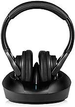 Wireless TV Headphones Over Ear Headsets-RF Transmitter Charging Dock, Hi-Fi Stereo Cordless Headphones for TV, Adjustable Lightweight Rechargeable 10Hrs Battery for Hard of Hearing, 330ft (Black)