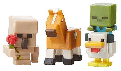 Minecraft Mini Figure 3-Pack, Iron Golem with Flower, Chicken Zombie & Palamino Horse by Mattel
