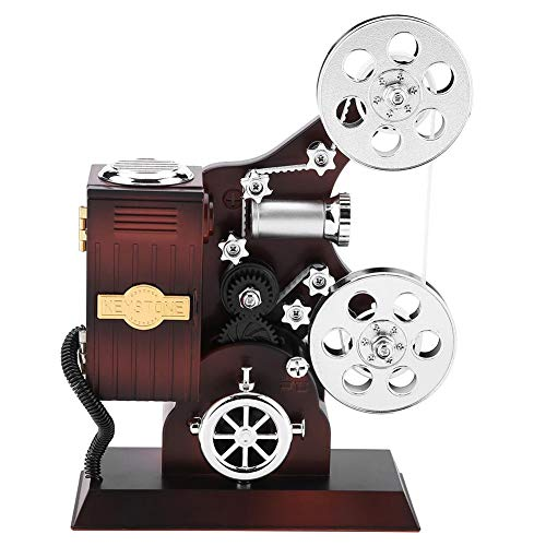 Jarchii Joyero, Caja de joyería Musical de proyector de película mecánica Vintage, Caja de Almacenamiento de Joya clásica Mini con Espejo cosmético Decorativo para el hogar