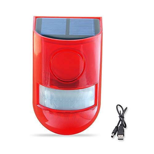 Sicherheits-Sirene mit Solar-Sound und Licht, 110 Dezibel, Sirene mit Ton und 6 LEDs, Blink-Warnung, Stroboskop-Sicherheits-Alarmsystem für Bauernhof-Villa