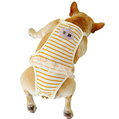 ROZKITCH Dog Cotton Sanitary Pantie with Adjustable Strap Suspender Physiological Pants Pet Underwear Diaper Jumpsuit for Girl Dog Teddy Young Corgi French Bulldog Puppy