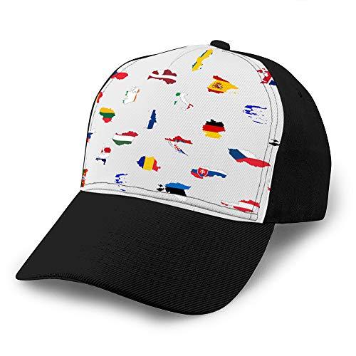 hyg03j4 Gorras de béisbol, Sombreros Militares, Sombreros de papá para el día del Padre, Regalo de acción de Gracias Banderas de Colores Simples Todos los países de la Unión Europea Gorra Snap