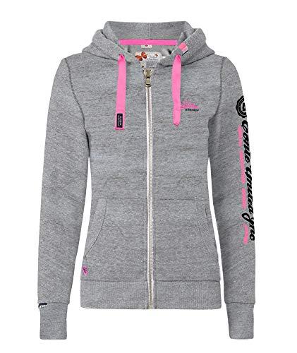 M.Conte Rachel Kapuzenpullover für Damen Hooded Sweater Sweat-Shirt-Jacke S M L XL Weiss Blau Grau Schwarz Pink Mit Kapuze Grau Grey Melange S