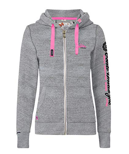 M.Conte Rachel Kapuzenpullover für Damen Hooded Sweater Sweat-Shirt-Jacke S M L XL Weiss Blau Grau Schwarz Pink Mit Kapuze Grau Grey Melange XL