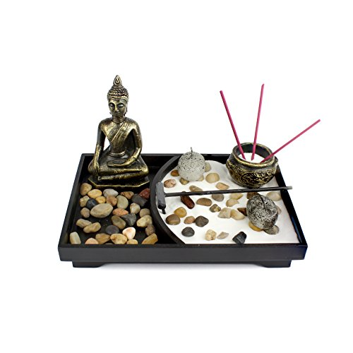 Heka Naturals Tablero Zen Garden Meditation Sand Rocks Rastrillo Feng Shui Decor