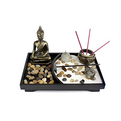 Heka Naturals Tablero Zen Garden Meditation Sand Rocks Rastrillo Feng Shui Decor