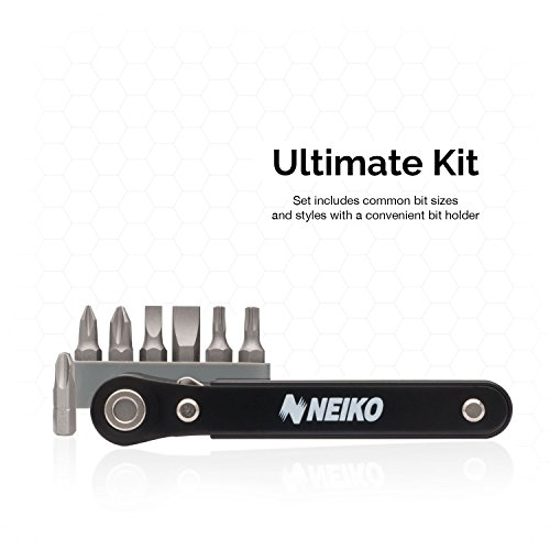 Neiko 03044A Mini Ratcheting Offset Screwdriver and Bit Set, Pocket Size Close-Quarters ,1/4-Inch Drive