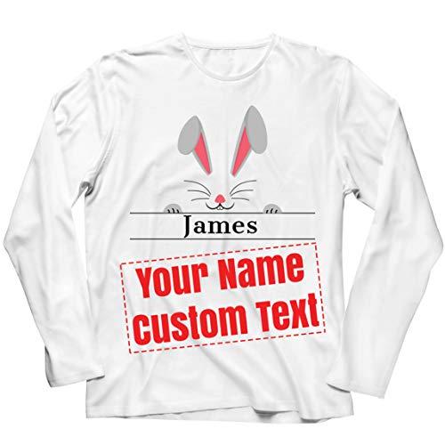 lepni.me Camiseta de Manga Larga para Hombre Nombre Personalizado Su Texto Divertido Conejo de Pascua Cara de Conejo (L Blanco Multicolor)