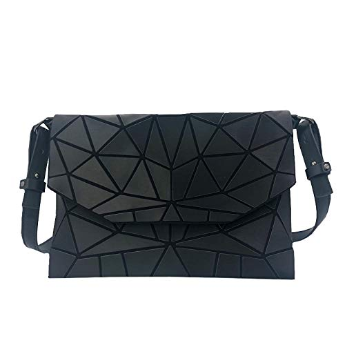 New Luminous Women Evening Bags Shoulder Bag Girls Flap Handbag Fashion Geometric Plaid Casual Clutch Messenger Bags Purse Black