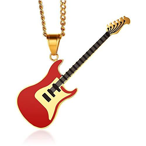 BOBIJOO JEWELRY - Gran Collar De La Guitarra Eléctrica Rock De Acero...