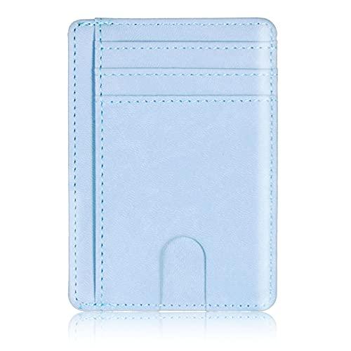 Cartera de cuero con bloqueo RFID delgada de bloqueo de tarjeta de crédito para hombres y mujeres