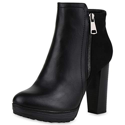 SCARPE VITA Damen Stiefeletten Plateau-Boots Zipper Holzoptikabsatz Schuhe 165792 Schwarz Zipper Total 37