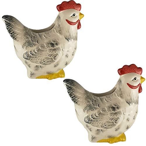 My-goodbuy24 Luftbefeuchter - Huhn - 2-teiliges Set - für Heizung aus hochwertigem Keramik Luftreiniger Wasserverdunster Verdamper verdunster Klima in weiß - inkl. Haken