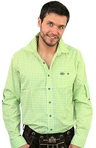 Bavariashop Trachtenhemd MEI Wiesn Hemd Apfel, grün-weiß kariert mit Taschen, Label und Stickerei, Freizeit und Landhauslook Size M