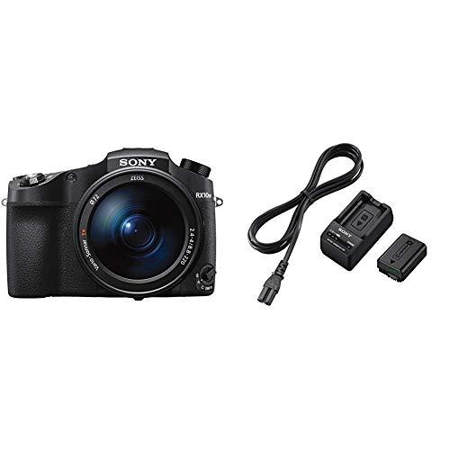 Sony DSC-RX10M4 Premium Bridge Kamera 24-600mm F2.4-4 Zeiss Objektiv, 24 Bilder/Sek, 0,03s Autofokus-Speed, schwarz & ACC-TRW Akku Zubehör Kit mit BCT-RW Ladegerät und NPFW50 W-Serie Li-Akku