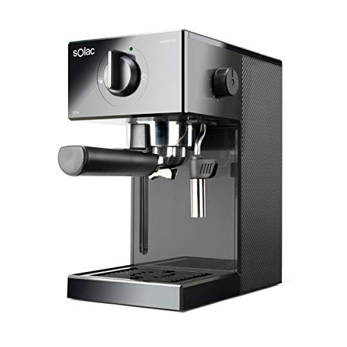 Solac CE4502 Squissita Easy Graphite - Cafetera espresso,20 bar,Double Cream, Espresso y Cappuccino, 1050 W, Portafiltros 1 ó 2 cafés, Monodosis/molido, Vaporizador de acero inoxidable, 1.5 l, Grafito