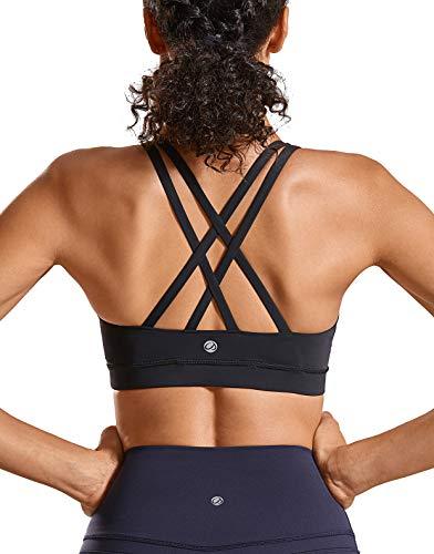 CRZ YOGA Damen Sport Yoga BH -Überkreuzte Träger,Abnehmbare Polsterung Schwarz-Logo XS