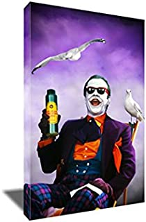 Jack Nicholson Joker Canvas Beach Painting Poster Artwork on Canvas Art Print (8x12 inches)