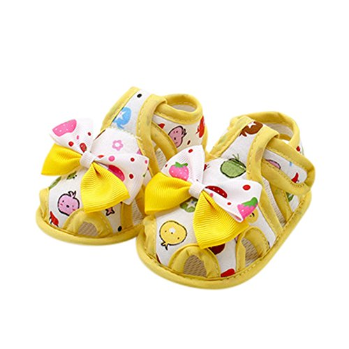 WUAI-Baby Shoes Infant Boys Girls Summer Sandals Rubber Sole Anti-Slip Sneakers Prewalkers First Walker Crib Shoes(Yellow,0~6 Month)