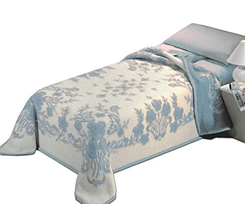 Centesimo Web Shop Coperta 100% Lana Prodotta in Italia Floreale Fiori Jacquard Classica - 150x210 cm Azzurro