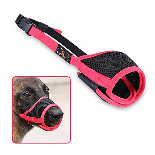 Dog Mouth Cover Breathable Mesh and Durable Nylon Dog Muzzle with Adjustable Loop and Soft Pad Dog Training Muzzle Prevent for Barking, Biting and Chewing with Dual Closure