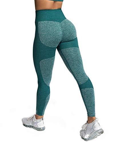 ShinyStar Leggings de Yoga de Cintura Alta sin Costura para Mujer Estiramiento Gimnasio Entrenamiento Leggings para Correr Verde S.