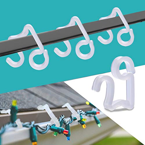 BYYL Christmas Light Hooks Christmas Mini Gutter Hang Hooks Weatherproof Plastic Clip Hooks for Festival Decoration Outside String Lights (100) (Large)