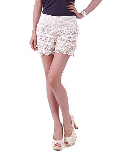 HDE Women's Lace Shorts Fitted Scallop Hem Crochet Mini Hot Pants (Cream, Large)