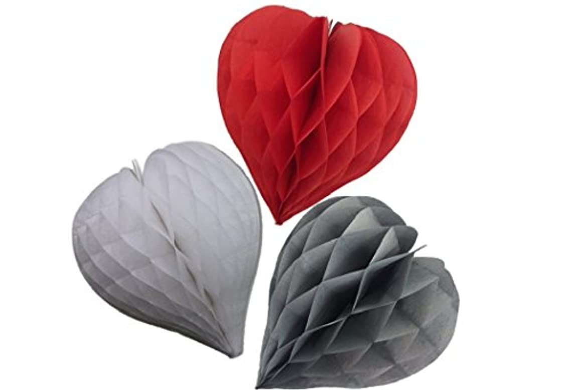 Matissa Pack of 3 Valentines Decoration Heart Shaped Paper Honeycomb Birthday Party Wedding Available in 11 Colours 3 Sizes (White + Red + Grey, 8