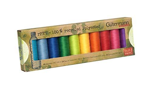 Gutermann GUT_731138-3 Nähgarn-Set, recyceltes Polyester, Bunte Farben, 100 m x 10 Rollen