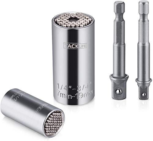 """Tacklife Vaso Universal, 4Pcs Multifunción 1/4""""- 3/4"""" (7mm-19mm) & 5/32""""-1/2"""" (4mm-13mm), Adaptadores de Taladro Eléctrico y de Llave, Universal Llave de Vaso - ASW02A"""