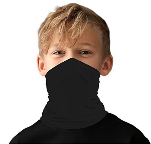 Kids Little Boys Face Mask Ski Mask Running Bandanas Sport Neck Gaiter UPF 50+ Sun Mask Scarf for Toddler Girls Black