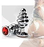 YRYH 1Pcs Gewinde Klein Wasserdicht Für Paare Relax Crystal Base Plugs Pull Beads Metal Pleasure Am besten für Paar Geschenk (Rot)