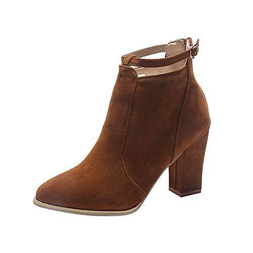 ZARLLE_Botas Zapatos Mujer Botines de Mujer Mujer Botas De Chelsea Botines Invierno OtoñO Zapatos tacón Ancho Mujer Botines Cortos Botines Tacones Altos Mujer Botas de Mujer