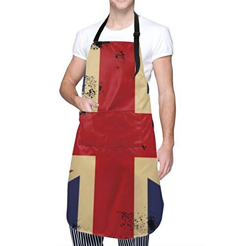 Delantal impermeable, bandera británica, fácil de usar, bata de cocina para chef, delantal para uñas, cuello ajustable, delantales de chef para cocina, cocina, lavado de platos, carnicero, aseo de per