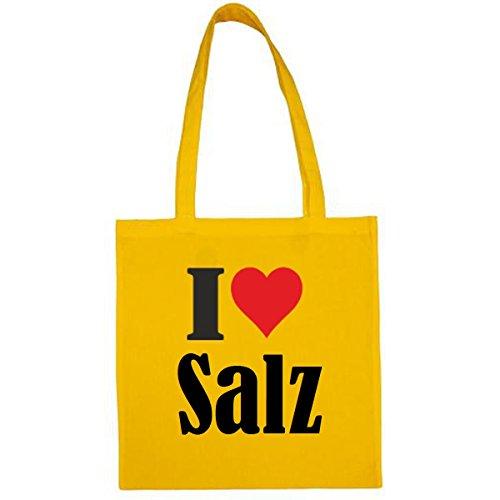 Tasche I Love Salz Größe 38x42 Farbe Gelb Druck Schwarz