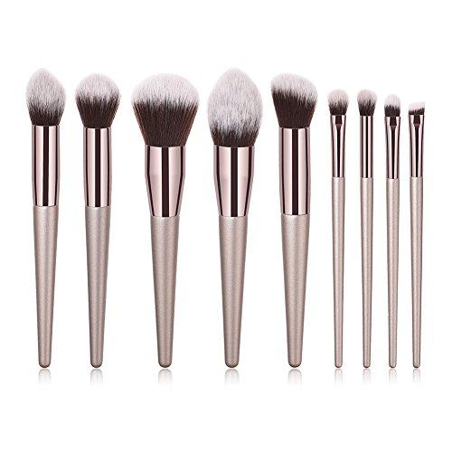 Fablcrew Lot de 9Pcs Pinceaux Maquillage Professionnels Kits Fibre Synthétique Doux Brosse Cosmétique Ombre à Paupière Doré Blush Fondation