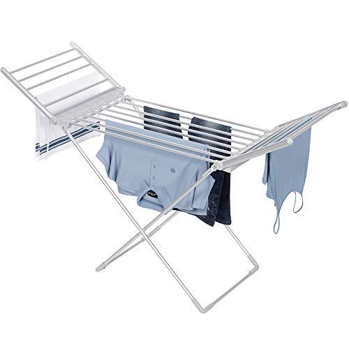 SOLS con calefacción Secadora de Ropa Plegable Airers climatizada Tendedero con alas,...
