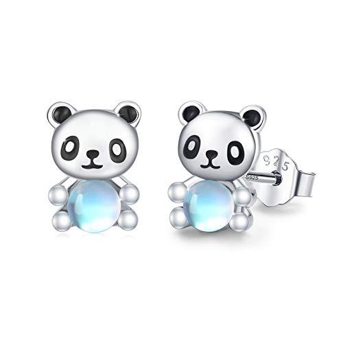 Boucles d'oreilles tortue / éléphant / lapin / panda / renard / hibou argent sterling 925 Boucles d'oreilles pierre de lune pour Femmes enfants filles (Panda blanc)