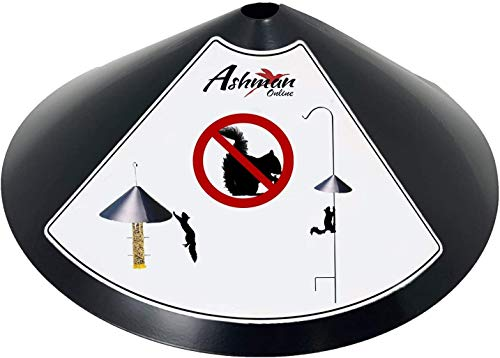 Ashman Squirrel Proof Baffle – 17-Inch Wide Squirrel Guard for Bird Feeders – Anti-Rust Galvanized Steel Hangable Baffle to Protect Poles and Hanging Bird Houses from Squirrels, Raccoons, and Rodents