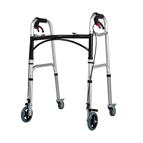 Ayuda portátil para Caminar Plegable con Rueda giratoria de Bloqueo - Altura Ajustable para Personas Mayores - Obesidad Pesada para Personas Mayores