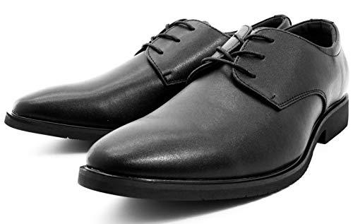 [Alvisto] 革靴 メンズ ビジネスシューズ 本革 プレーントゥ 外羽根 就活 靴 防水 かわぐつ 冠婚葬祭 皮靴 紳士靴 柔らかい スニーカー 通勤 防滑 幅広 ブラック 25.0cm