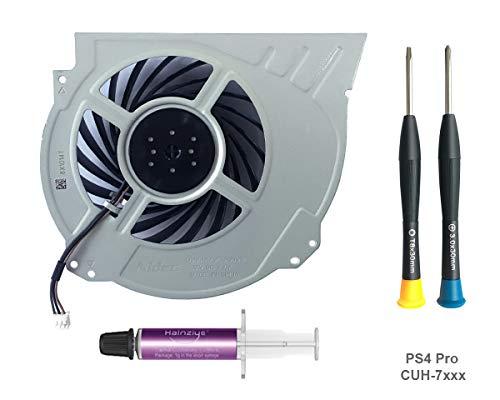 ElecGear Replacement CPU Lüfter für PS4 Pro CUH-7xxx – Intern Reparatur Ersatzkühler Ventilator Kühler Cooling Fan, Thermo Paste, TR8 Torx Security, PH0 Driver Set für Playstation 4 Pro