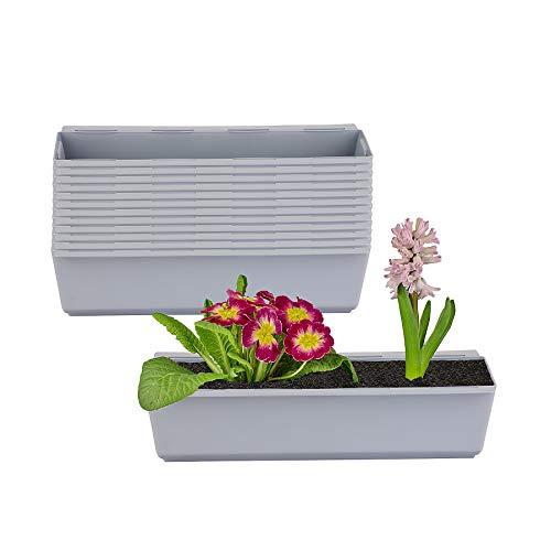 BigDean 12er Set Pflanzkasten inkl. Aufhänger für Europalette - Blumenkübel in Grau - LxBxH ca. 37 x 13,5 x 9,5 cm - Ideal zum Hängen & Stellen - Robust & wetterfest -