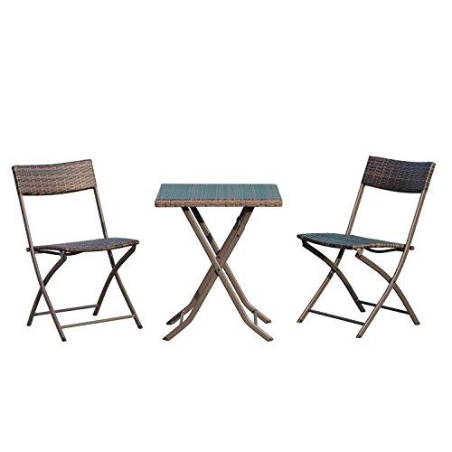Outsunny Set Tavolino 3pz Tavolino con 2 Sedie Pieghevoli da Giardino in Rattan Marrone