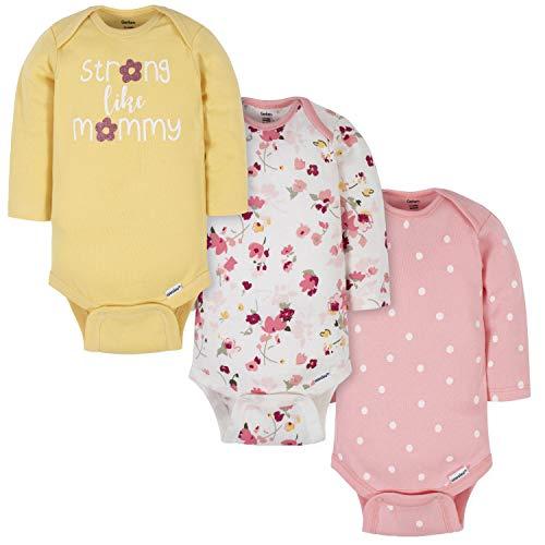 Gerber Baby Girls' 3-Pack Long-Sleeve Onesies Bodysuit, Mommy Yellow, 0-3 Months