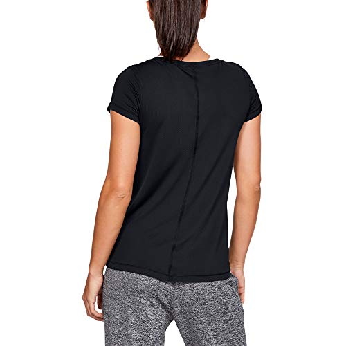 Under Armour Women's UA Short Sleeve Compression Undershirt for Exercise, Men's Gym Top with HeatGear Fabric, Black/Metallic Silver, M