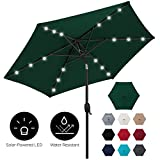 Best Choice Products 7.5ft Outdoor Solar Patio Umbrella for Deck, Pool w/Tilt, Crank, LED Lights - Green