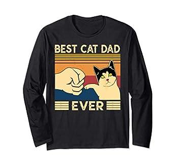 Meilleur chat papa jamais T-shirt Vintage Cat Daddy Father Manche Longue